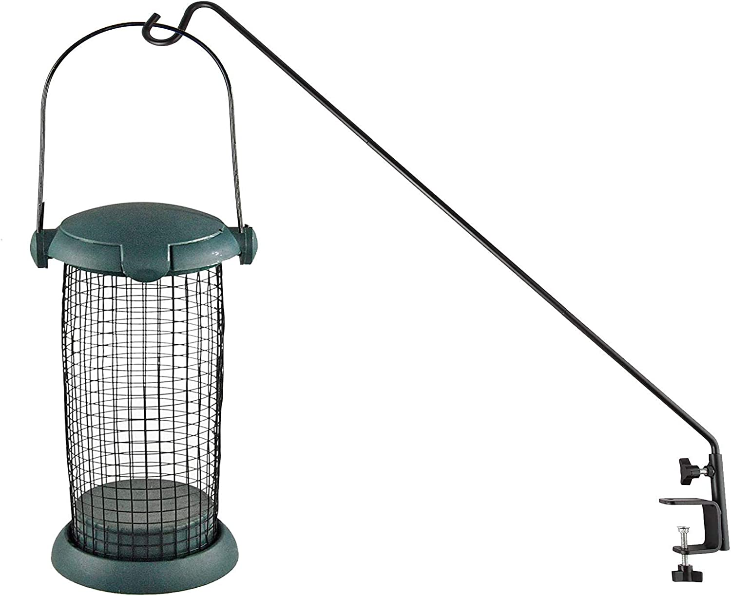 Home-X Extended Reach Deck Hook Expandable with Clamp On Bracket and Small Mesh Hanging Bird Feeder Tube, Outdoor Bird Perch, Green