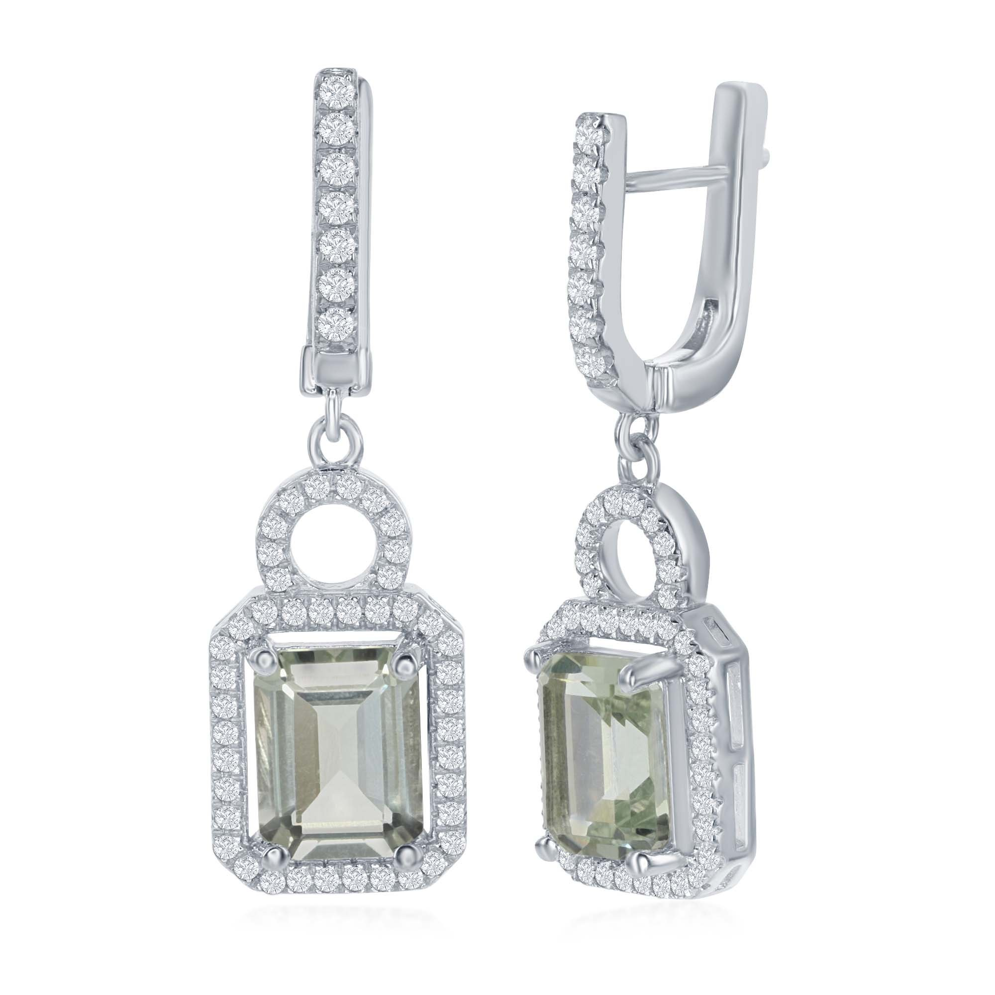 Sterling Silver Green Amethyst Center with White Topaz Border Earrings