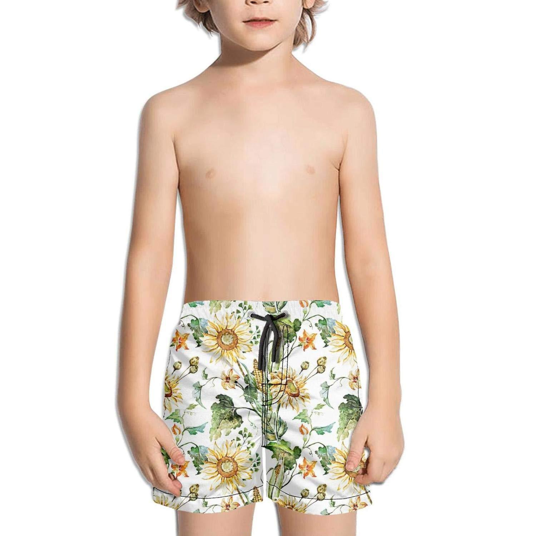 Etstk Sunflower and Corn Kids Comfortable Swim Trunks for Men