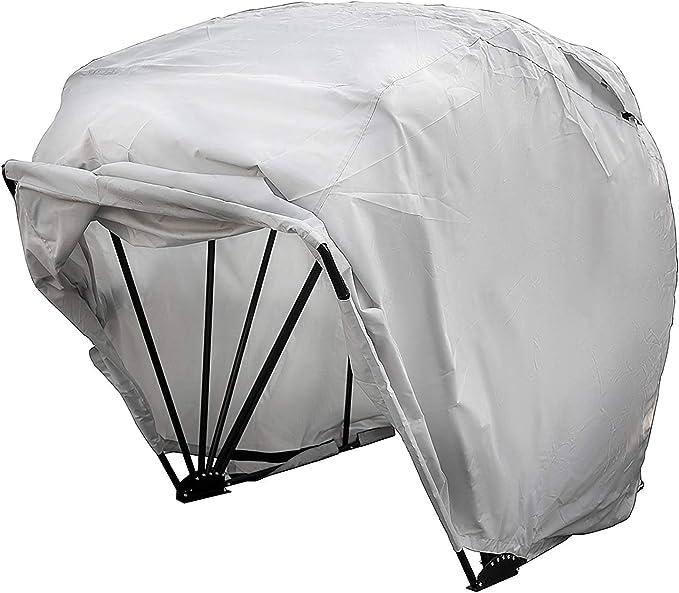 OldFe Garage Pieghevole Per Moto In Argento Oxford 600D 265cm x 105cm x 155cm Pieghevole Garage Tenda Garage Telone Di Prorezione A Tenda S