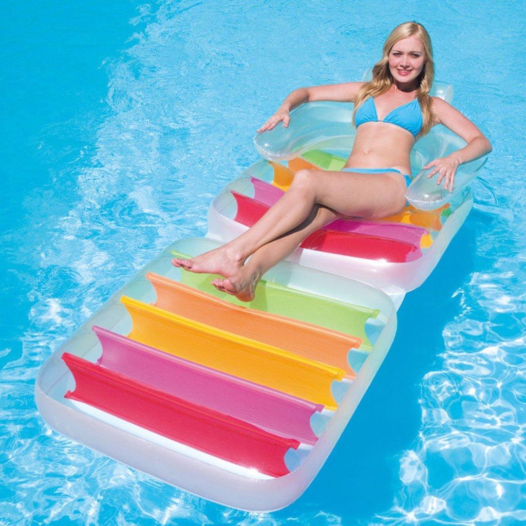 LongYu Fila Flotante Inflable Apoyabrazos Plegable Recliners de Agua Cama de Agua de Cama Flotante Estera de Playa Adulto