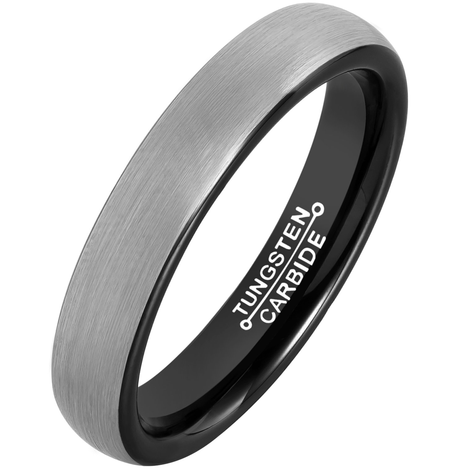 MNH Mens Rings Tungsten Carbide Black Plated Women Wedding Engagement Band Comfort Fit Matte Finish