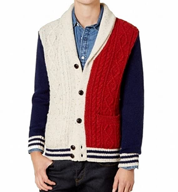 137fabed5dbca4 Tommy Hilfiger Red Mens Cable Knit Cardigan Wool Sweater Blue XL ...