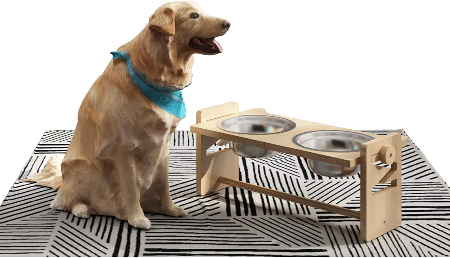 Elevated Dog Bowls for Large and Medium Pets, 4 Adjustable Height Bamboo Raised Cat Food and Water Bowl , Stand Feeder with 8 Inch Stainless Steel Bowl, Meet Pets Feeding Needs