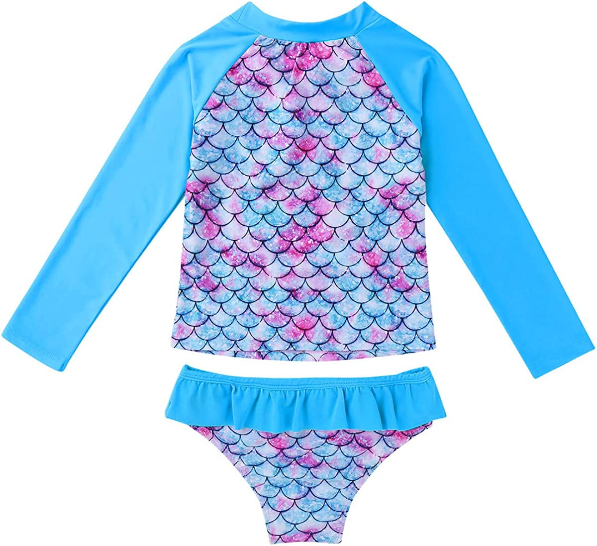Aislor Kids Baby Girls Mermaid Bikini Set Fish Scales Printed Swimwear Long Sleeves Tankini Tops with Bottoms
