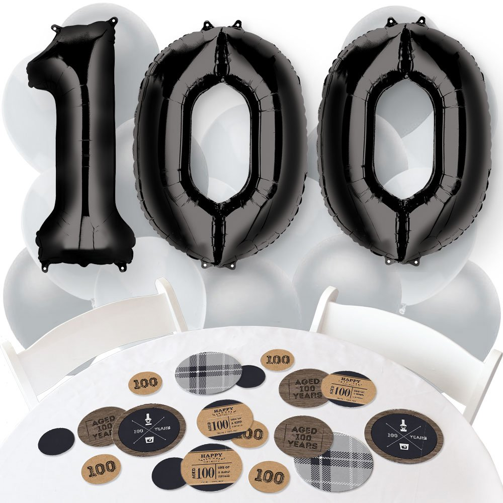100th Milestone Birthday - Dashingly Aged to Perfection - Confetti and Balloon Party Decorations - Combo Kit