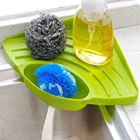 INOVERA (LABEL) Kitchen Sink Corner Organizer Wash Basin Sponge Soap Scrub Brush Storage Holder Rack with Suction Cup, Green