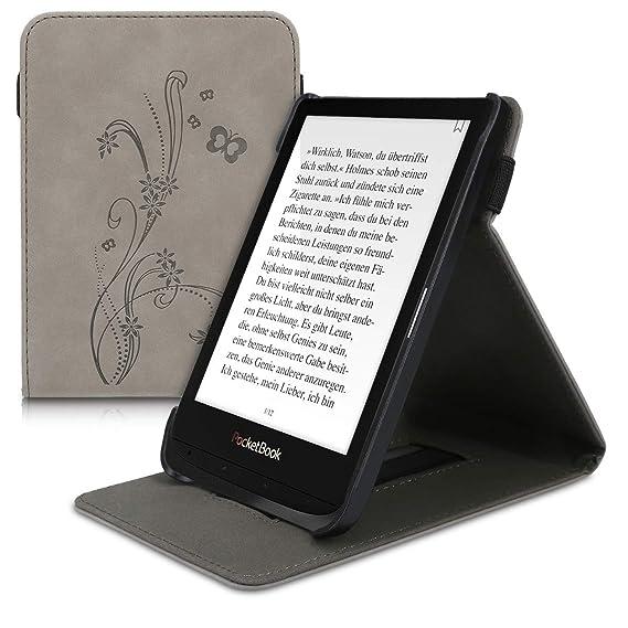 kwmobile Funda para Pocketbook Touch Lux 4//Basic Lux 2//Touch HD 3 Carcasa con Tapa Vertical y Soporte para e-Book Case Flip Cuero sint/ético de Nobuck
