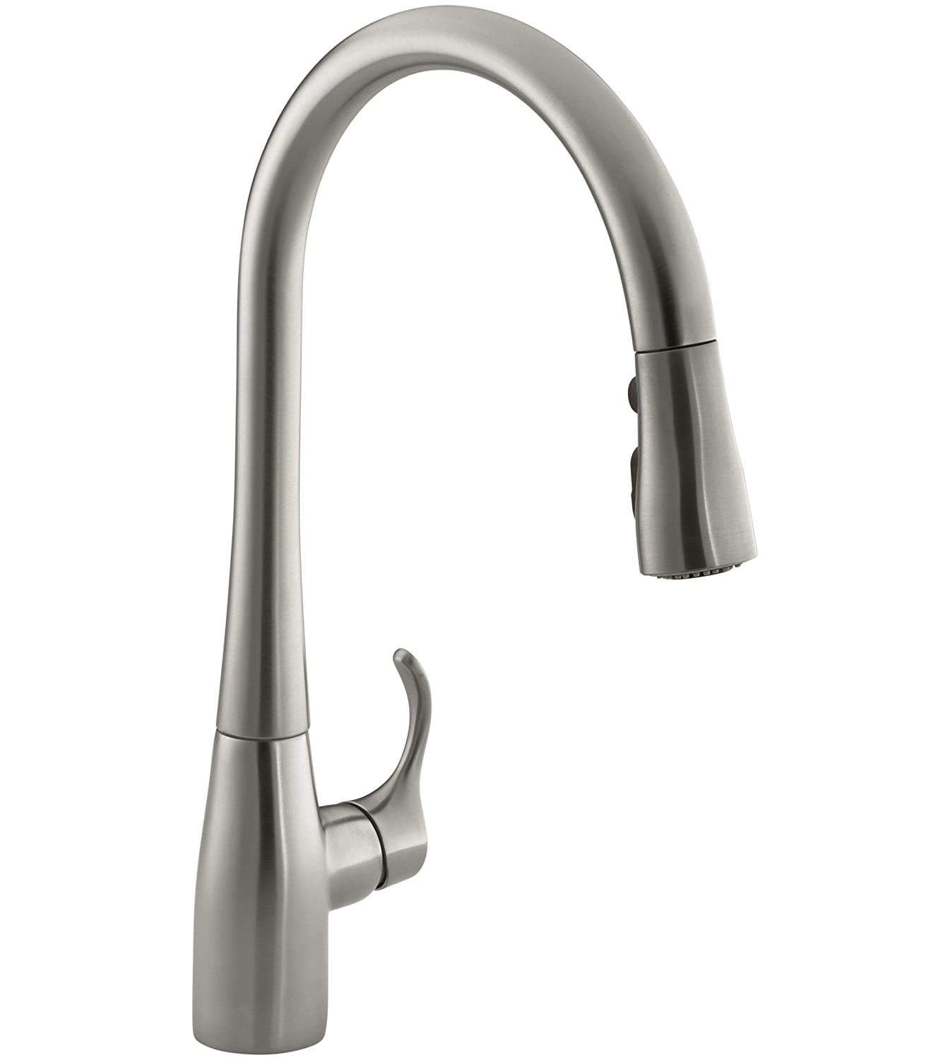 KOHLER K-596-VS Simplice High-Arch Single-Hole or Three-Hole, Single  Handle, Pull-Down Sprayer Kitchen Faucet, Vibrant Brushed Stainless with  3-function ...