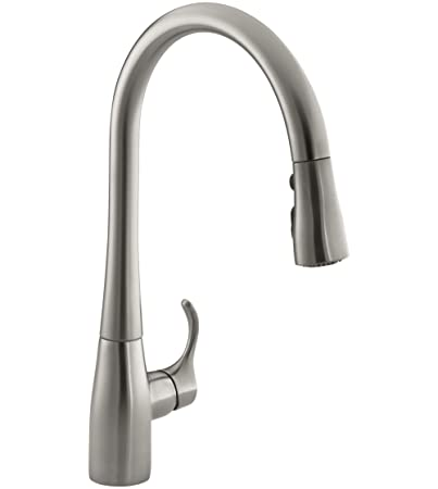 KOHLER K-596-VS Simplice High-Arch Single-Hole or Three-Hole, Single Handle, Pull-Down Sprayer Kitchen Faucet