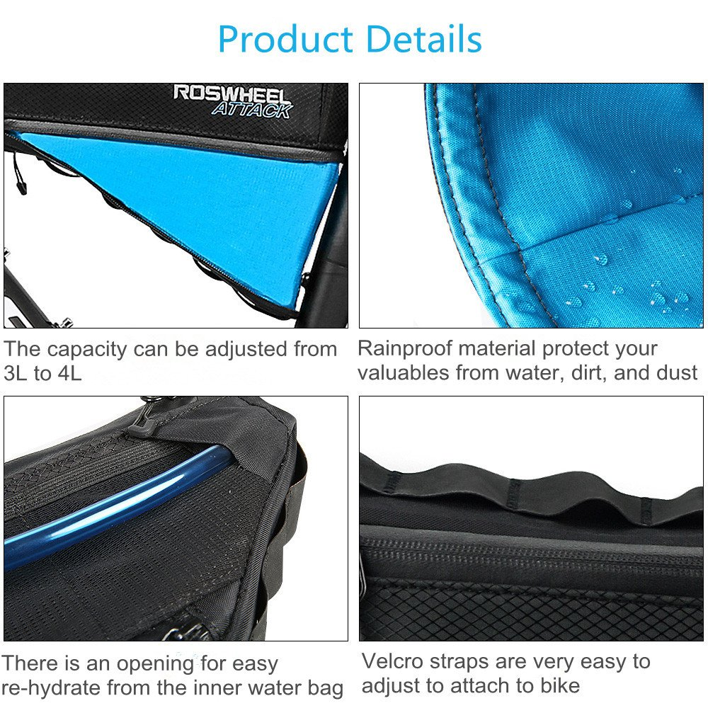 allnice Bike Frame Bag 3-4L Frame Pouch Waterproof Bike Storage Bag Mountain Road MTB Bicycle Triangle Bag Strap-on Bicycle Pouch by allnice (Image #3)