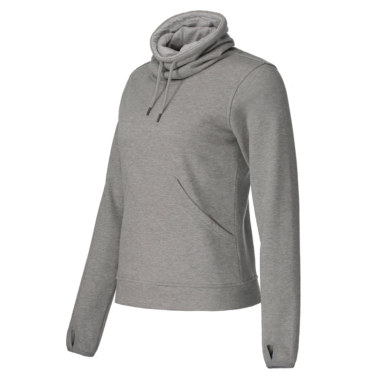 Helzkor Women's Long Sleeve Fleece Lined Pullover Cowl Neck Casual Sweatshirt With Thumbholes and Pockets - Gray, M