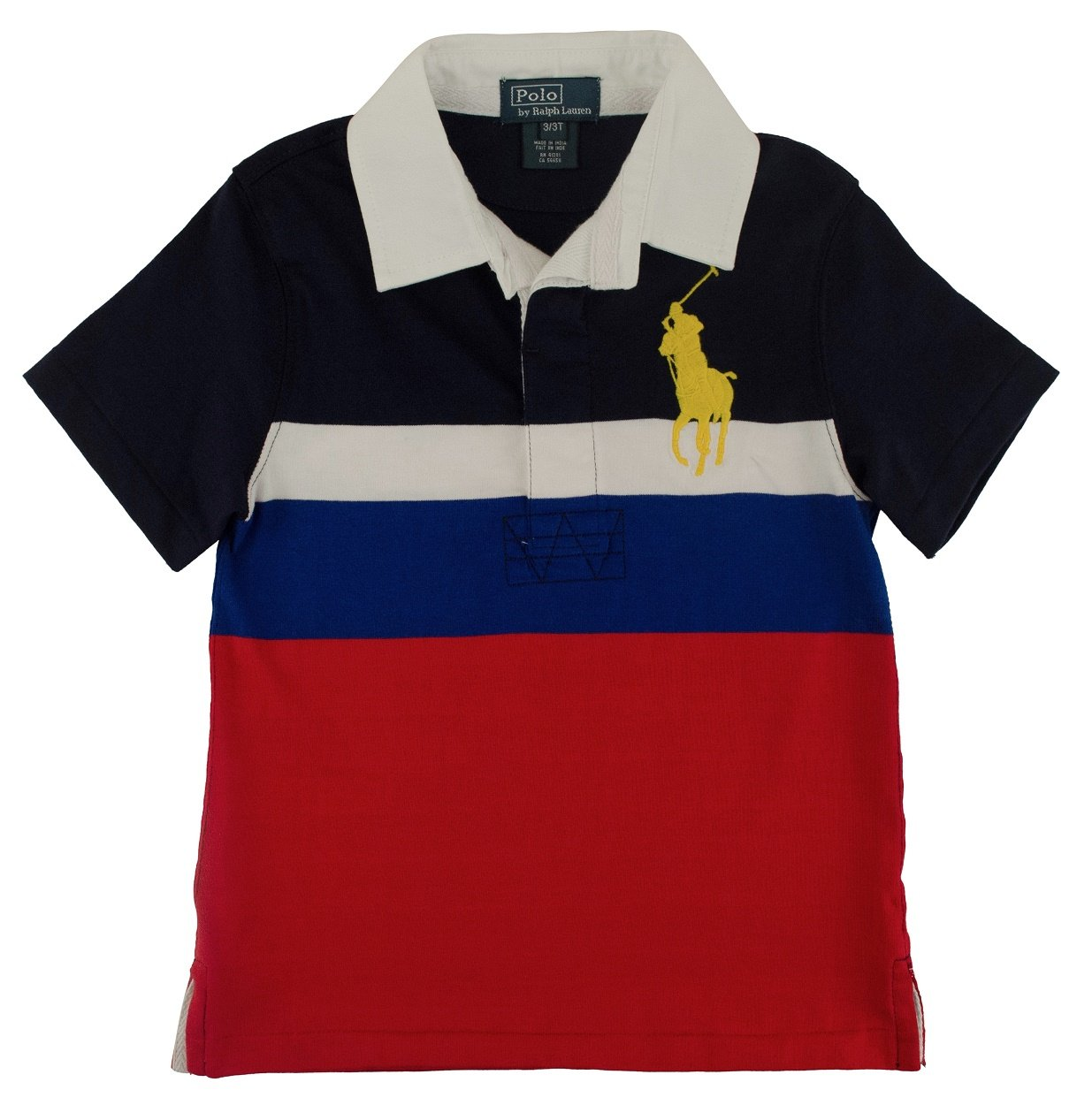 Polo Ralph Lauren Little Boy's Big Pony Striped Rugby, Navy Multi, 3/3T