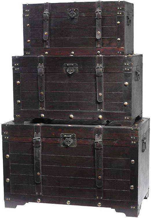 Juego de 3 baúles krama en color marrón madera baúl Muebles – Baúl de caja rústico: Amazon.es: Jardín