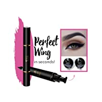 Original Eyeliner Stamp by LA PURE (2 Pens) - 2 double-sided pens, winged liquid eyeliner stamp & pencil, Vamp style wing, smudgeproof, waterproof, long-lasting, No Dripping (10mm, Black/Gold Box)