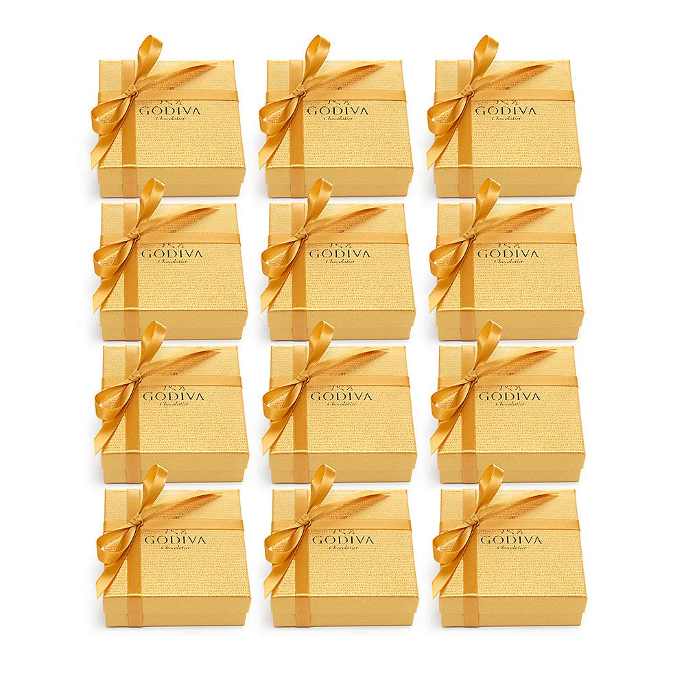 Godiva Chocolatier Chocolate Gold Favor 4 Piece Gift Box, Gold Ribbon, Great as a Gift, Chocolate Birthday Favors, Chocolate Wedding Favors, Chocolate Gift Box, Set of 12