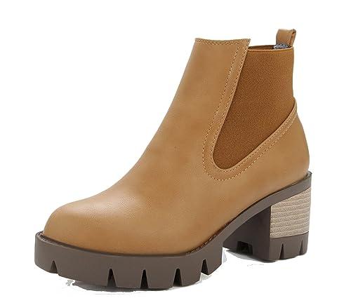 e6ea9365bfe2e AgeeMi Shoes Donna Inverno Scarpe a Chiusa Tacco a Blocco Stivali Chelsea   Amazon.it  Scarpe e borse