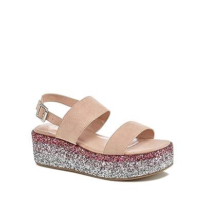cbea7d4b289 Debenhams Faith Natural Suedette Glitter  Jitter  Mid Flatform Heel Ankle  Strap Sandals 8