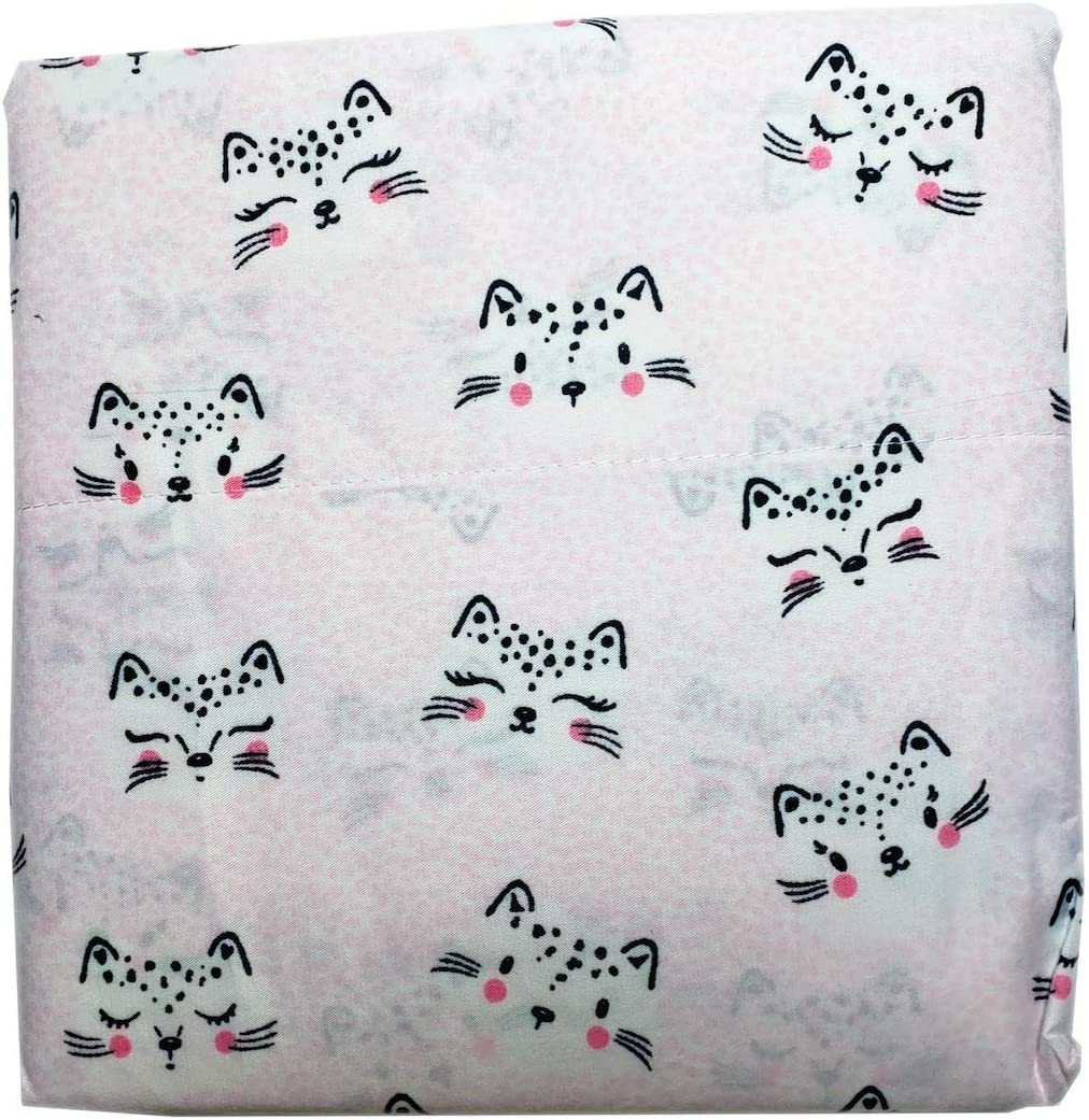 Amazon Com Pretty Cute Cat Smiling Kitten Face Full Bed Sheet Set Pink White Home Kitchen