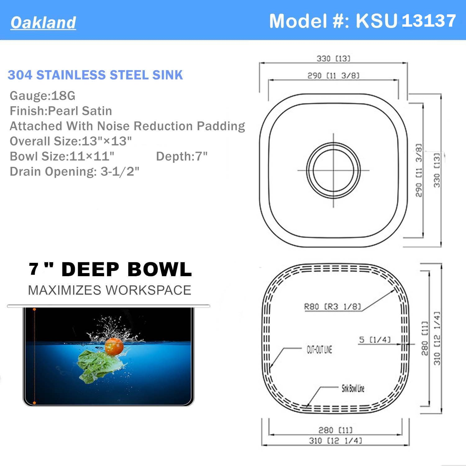 18-Gauge Undermount Single Bowl Stainless Steel Small Bar/Prep Sink 13''X13'' by Oakland (Image #2)