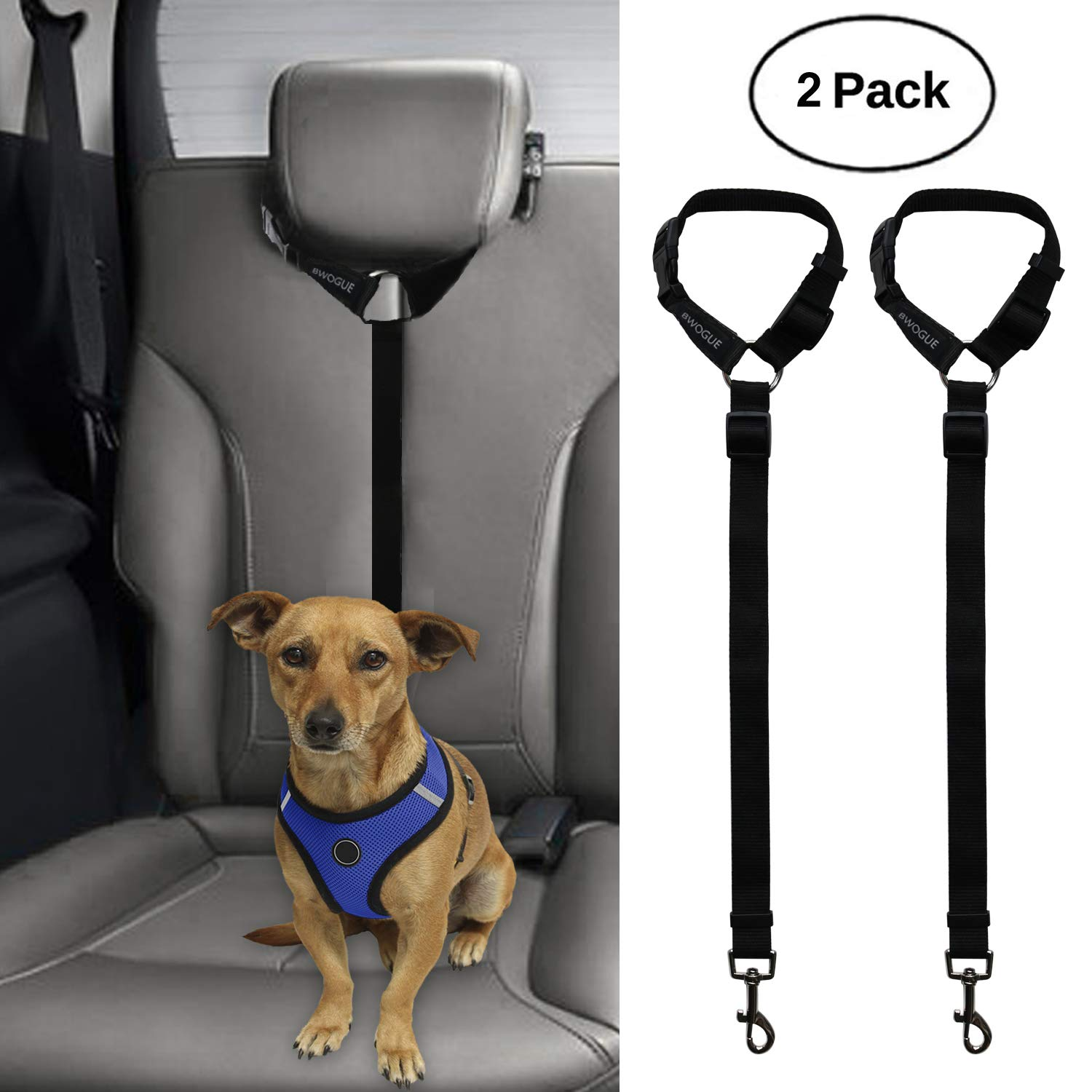 BWOGUE 2 Packs Dog Cat Safety Seat Belt Strap Car Headrest Restraint Adjustable Nylon Fabric Dog Restraints Vehicle Seatbelts Harness by BWOGUE