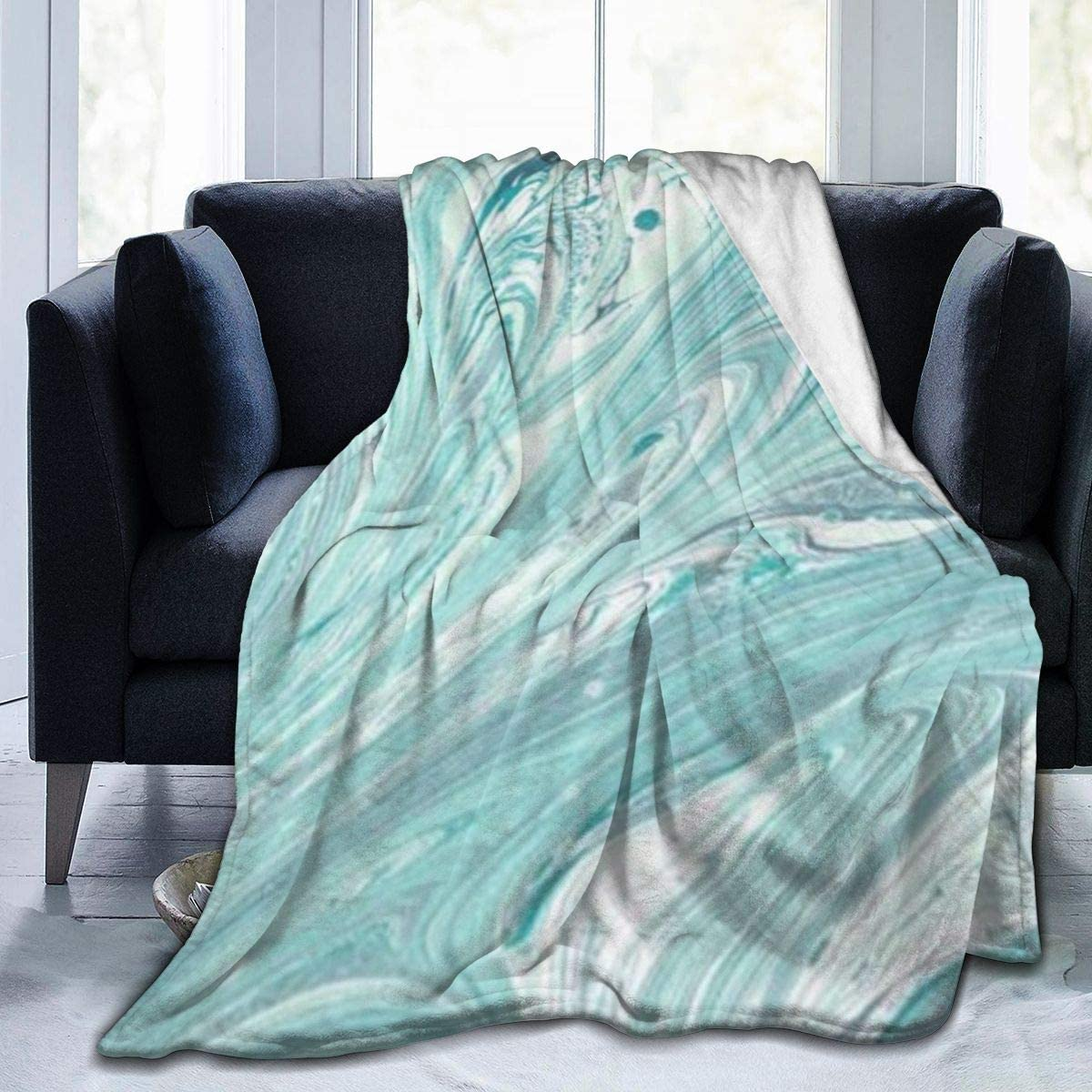 "Soft Cozy Mint Green Marble Throw Blanket, Sherpa Flannel Fleece Sleeping Blanket Throw Wearable Cuddle, Large Blanket for Bedroom Living Rooms Sofa Couch, 60""x80"""