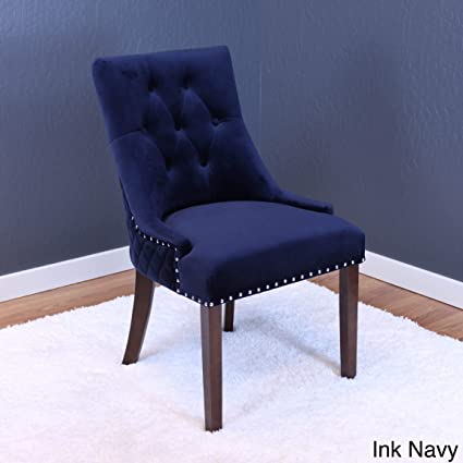 Pleasant Monsoon Lemele Tufted Velvet Dining Chairs Set Of 2 Blue Bralicious Painted Fabric Chair Ideas Braliciousco