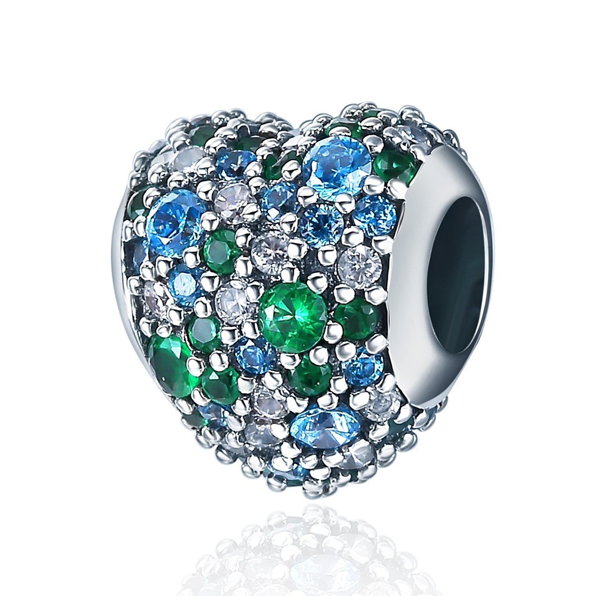 Soulove Green Colorful Heart Pave CZ 925 Sterling Silver Bead For Snake Chain Charm Bracelet
