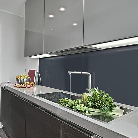KeraBad Küchenrückwand Küchenspiegel Wandverkleidung Fliesenverkleidung  Fliesenspiegel aus Aluverbund Küche Anthrazit glanz/matt 60x240cm