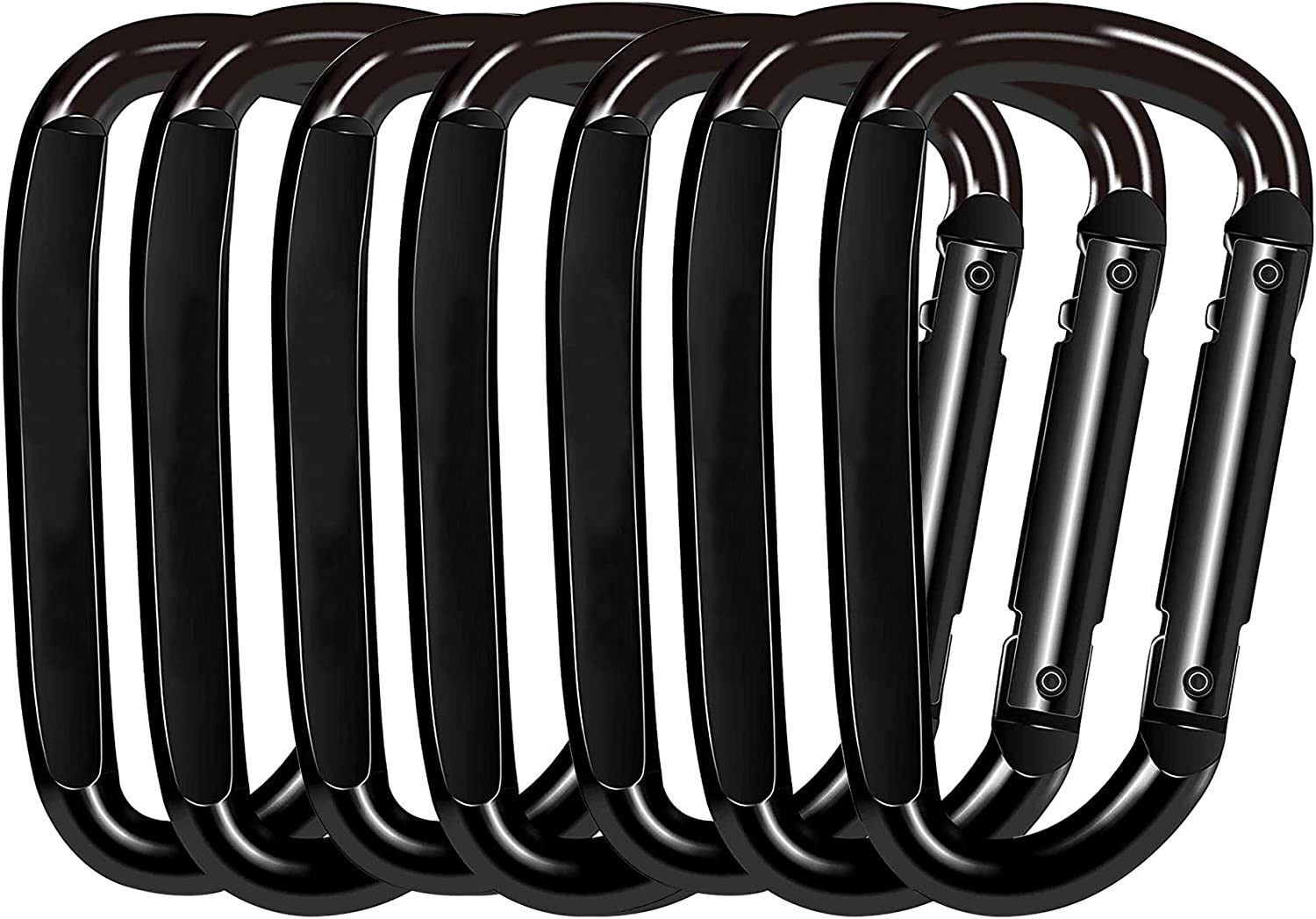 3 Inch D Shape Improved Durable Spring-Loaded Gate Iron Carabiners Fishing or as a Key Organizer Keychain Clip GLE2016 Carabiner Clip Hiking Multipurpose for Camping