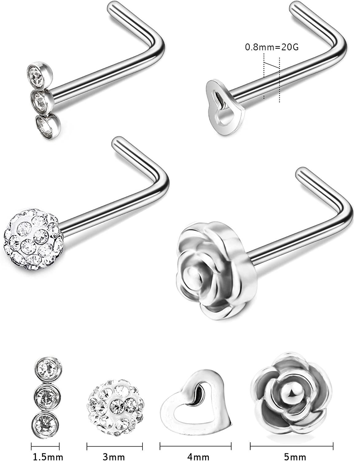 Tiny 20 g 2 mm Zircone cubique Gem Acier Nez Vis Clous Anneau Pin Body Piercing Narine Jewelry