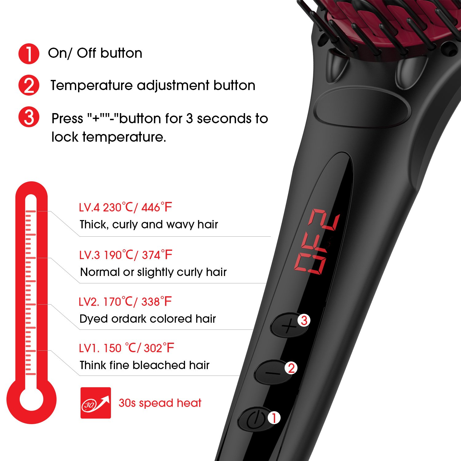 Enhanced Hair Straightener Brush by MiroPure, 2-in-1 Ionic Straightening Brush with Anti-Scald Feature, Auto Temperature Lock and Auto-off Function (Black) by MiroPure (Image #4)