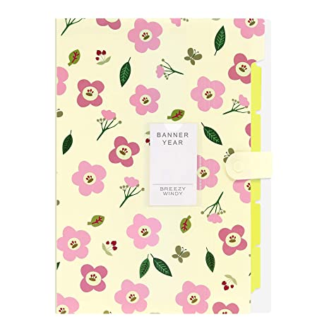 Document File Folder Bag Floral Pattern Lovely Filing Papers Organizer With Tabs
