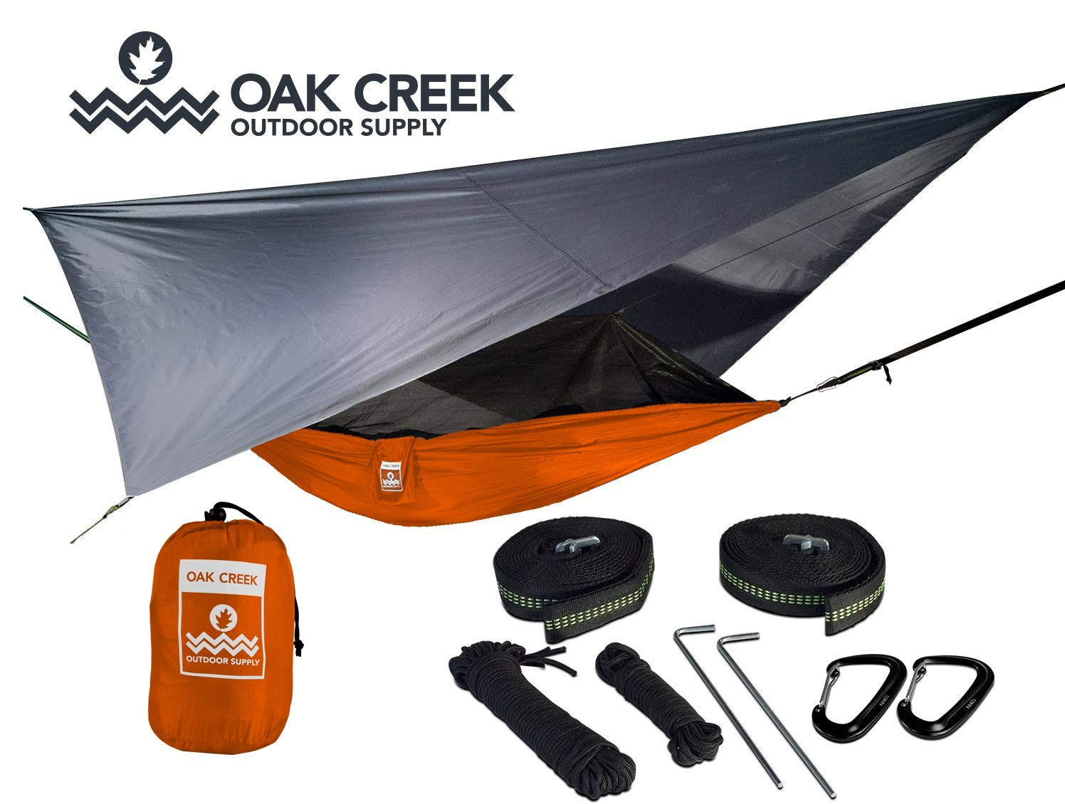 Lost Valley Camping Hammock (Orange and Gray)| Bundle Includes Mosquito Net, Rain Fly, Tree Straps, Compression Sack | Weighs 4 Pounds, Perfect for Hammock Camping | Lightweight Nylon Single Hammock