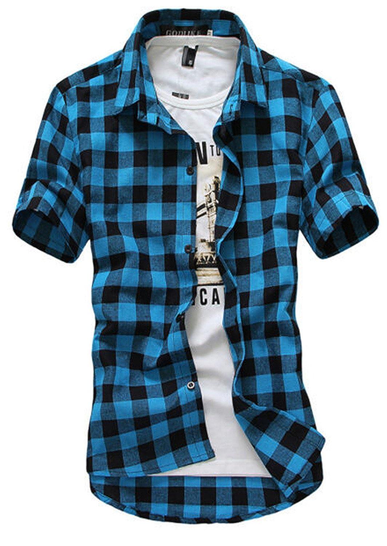 Sonjer Red and Black Plaid Shirt Men Shirts New Summer Spring Fashion Chemise Homme Mens Dress Shirts Short Sleeve Shirt Men