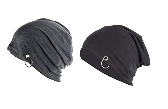 7eabe2f8c4e Babji Solid Black   Grey Long Beanie Whit Silver Ring Cap (Pack of 2 ...