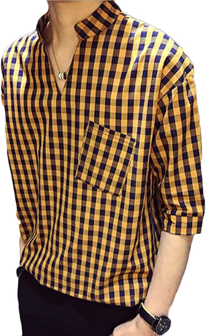 OSTELY Zip Plaid V Neck Long Sleeve Casual Shirt Blouse Top Shirt For Women