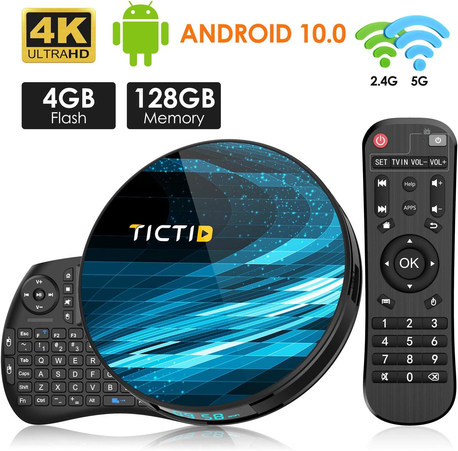 TICTID Android 10.0 TV Box T8 MAX【4G+128G】con Mini Teclado inalámbirco con touchpad RK3318 Quad-Core 64bit WiFi-Dual 5G/2.4G,BT 4.0, 4K*2K UDR H.265, USB 3.0 Smart TV Box