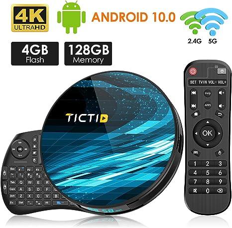 TICTID Android 10.0 TV Box T8 MAX【4G+128G】con Mini Teclado inalámbirco con touchpad RK3318 Quad-Core 64bit WiFi-Dual 5G/2.4G,BT 4.0, 4K*2K UDR H.265, USB 3.0 Smart TV Box: Amazon.es: Electrónica