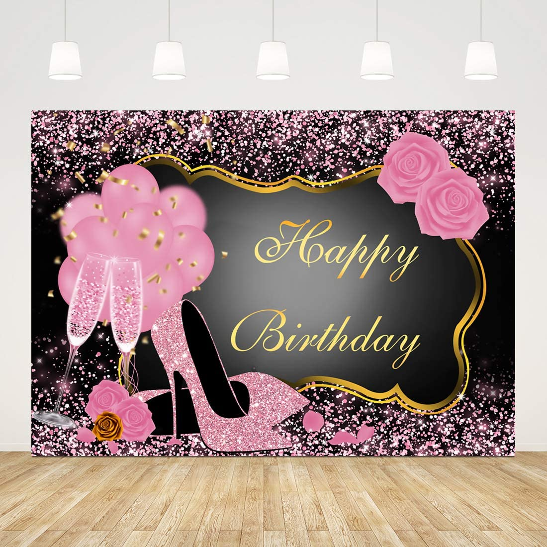 Happy Birthday Backdrop for Adult Party Pink Birthday Photography Background 7x5ft Glitter Happy Birthday Backdrop for Women Girls Princess Cake Table Banner Rose Gold 16th 20th 30th 50th Photo Props
