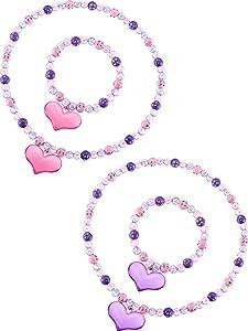 Zhanmai Necklace Jewelry Set Lovely Princess Necklace Bracelet Set Heart Beads Jewelry Set Toddler Dress Up Jewelry Party Favor