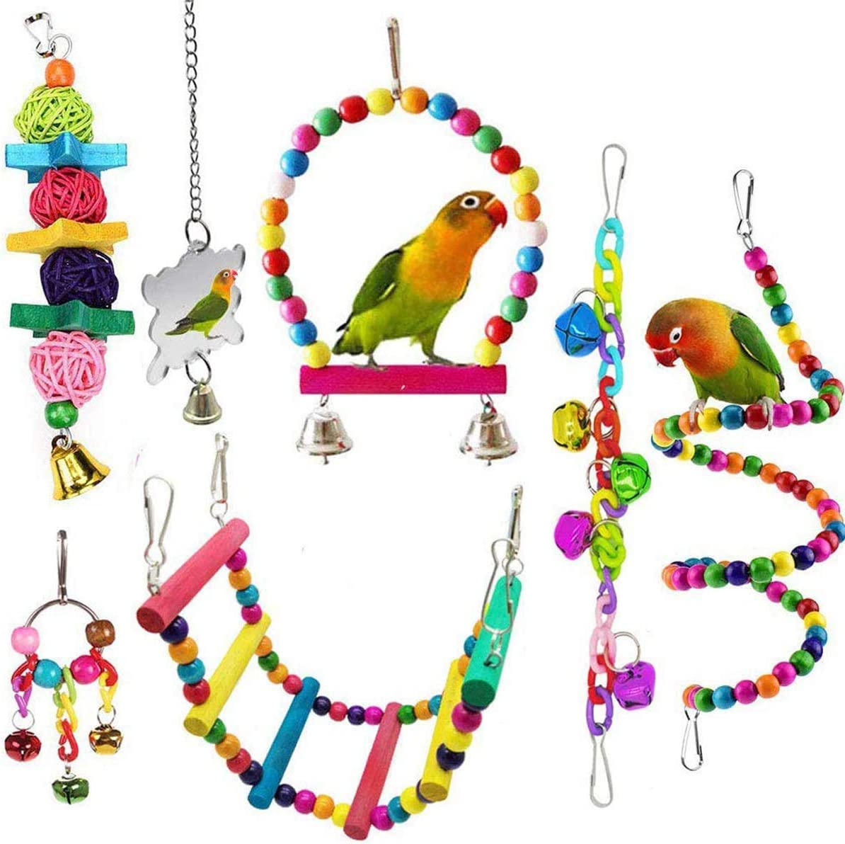 Mrli Pet 5 Pack Bird Swing Toys with Colorful Wood Beads Bells and Wooden Hammock Hanging Perch for Budgie Lovebirds Conures Small Parakeet Cages Decorative Accessories
