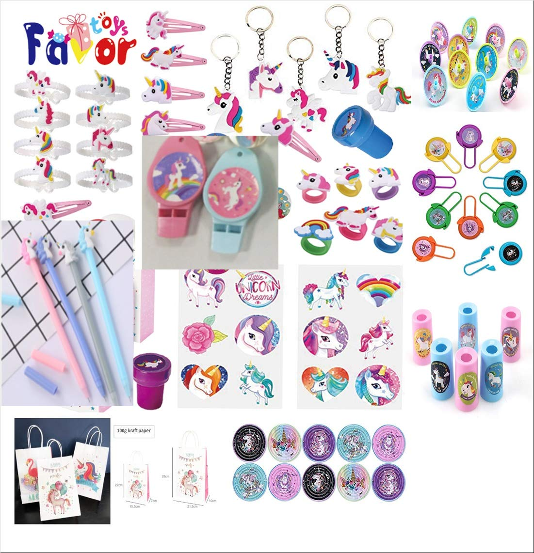 84-Pack Party Favors Temporary Tattoos Eddy Toys - Bracelet Wristbands Maze Games Rubber Stampers Unicorn-themed toys and remembrance gifts and prizes Whistles Keychains Rings Unicorn Ballpens. Hair Clips Flying Disc Shooters
