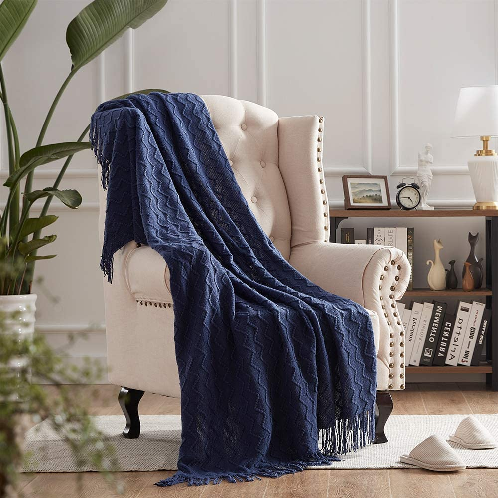 """Throw Blankets for Couch Blue Textured Knit Blankets with Tassel Fringe Soft & Lightweight Decorative Zigzag Throws (50""""x60"""", Navy Blue)"""