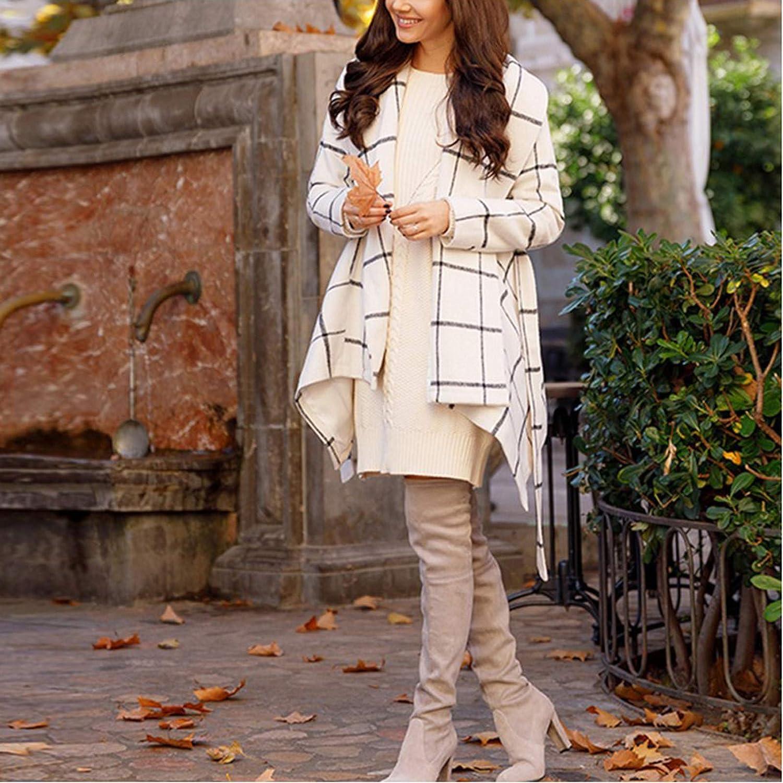 zuzu Womens Turn Down Collar Coat Belted Wool Blend Coat Asymmetric Hem Wrap Coat