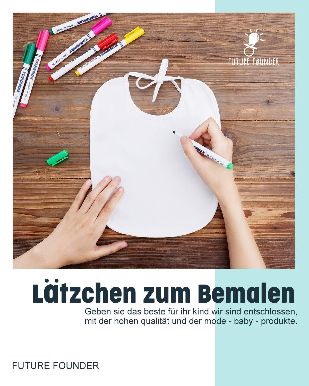 10 baberos impermeables de algod/ón con eBook ideal para dise/ñar y pintar FUTURE FOUNDER Babero blanco para pintar regalo perfecto para fiesta de beb/é