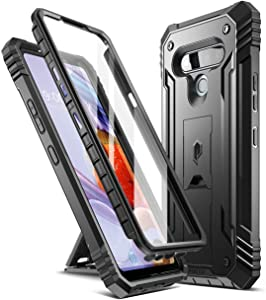 Poetic Revolution Series for LG Stylo 6 Case, Full-Body Rugged Dual-Layer Shockproof Protective Cover with Kickstand and Built-in-Screen Protector, Black