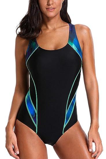 ATTRACO Women One Piece Sports Swimming Costume Athletic Swimsuit Racerback  Swimwear  Amazon.co.uk  Clothing 277e0695d