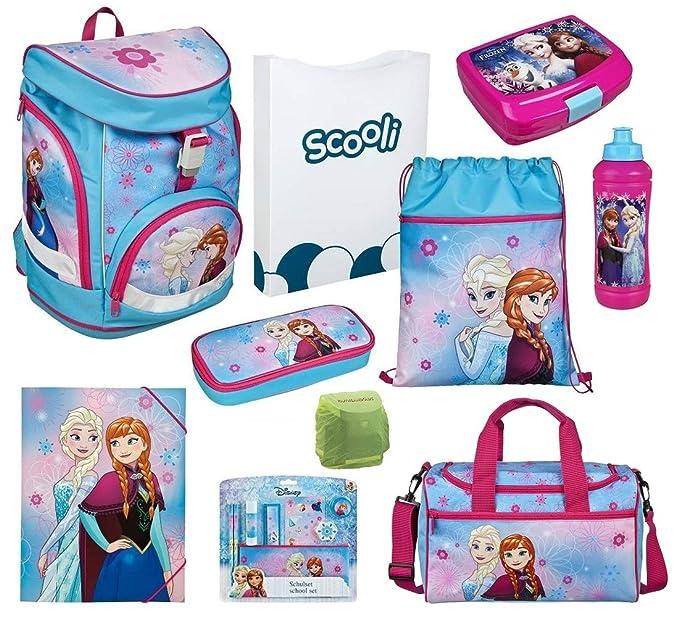 Frozen Mädchen Schulranzen-Set 17 tlg. Scooli Twixter Up Schulrucksack Disney Die Eiskönigin Elsa und Anna mit Sporttasche un