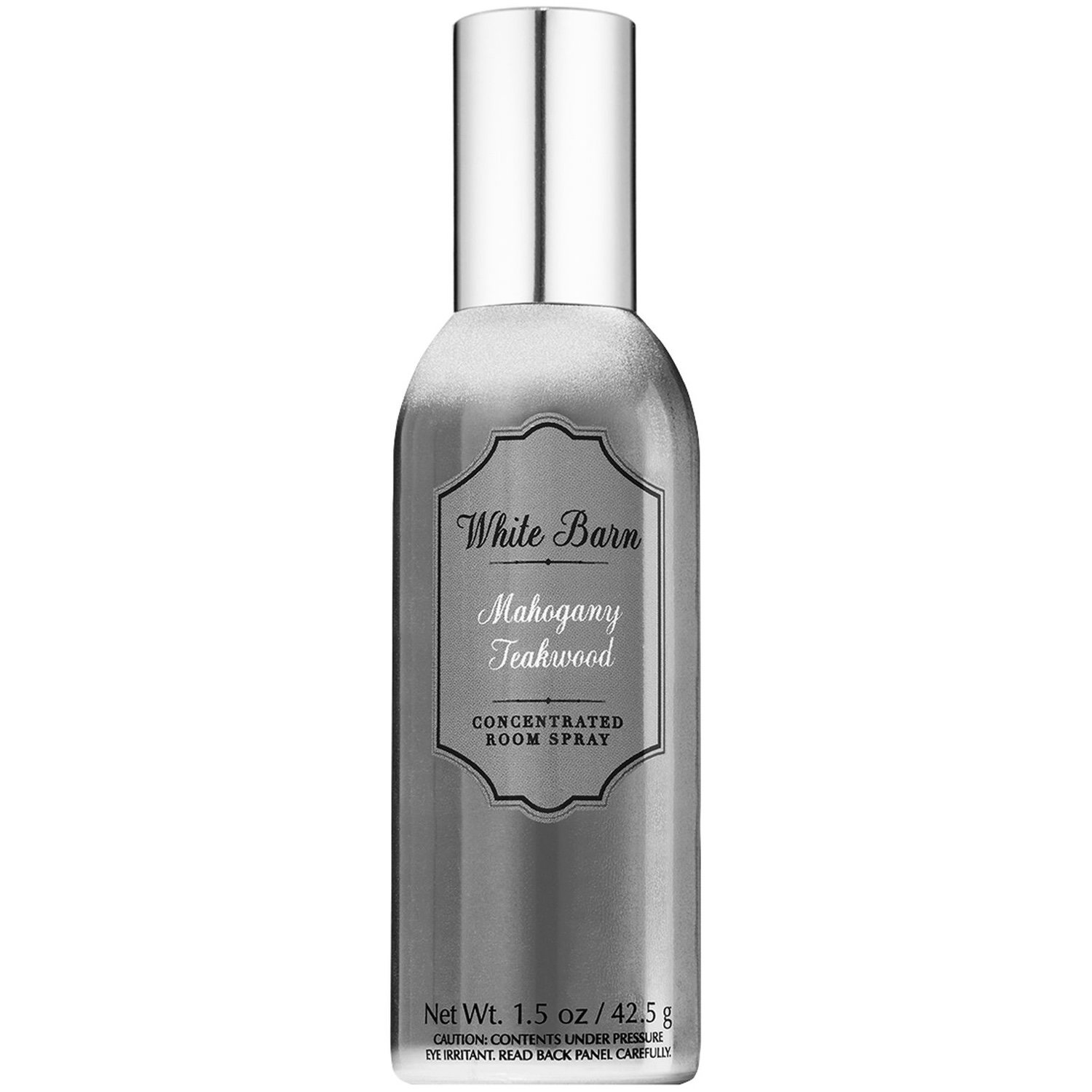 Bath and Body Works MAHOGANY TEAKWOOD Concentrated Room Spray 1.5 Ounce (Metallic Edition, White Barn Label)